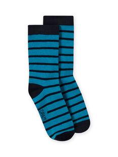 Chaussettes à rayures bleu marine et bleu saphir enfant garçon MYOJOCHOR3 / 21WI0219SOQC211