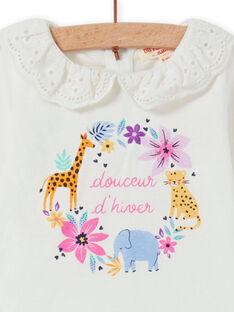 T-shirt écru col en voile motif fleuri fantaisie bébé fille MIPLABRA / 21WG09O1BRA001