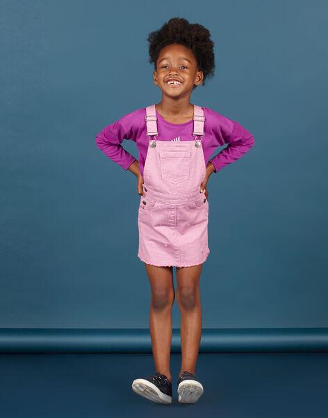 Robe-salopette en jean parme à pois enfant fille MAPAROB3 / 21W901H3ROBH709