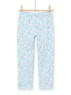 Ensemble pyjama bleu doublé motif licorne enfant fille MEFAPYJFUR / 21WH1193PYJ201
