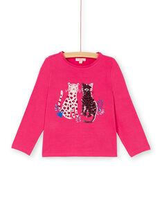 T-shirt manches longues, petits léopards en imprimé et en sequins magiques KASATEE2 / 20W901O2TML419