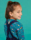 Robe salopette bleu marine enfant fille MATUROB4 / 21W901K3ROB070