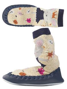 Chaussons chaussette lurex beige bébé fille GBFCCSOURI / 19WK37Z2D08954