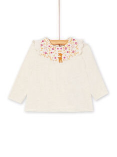 Tee-shirt manche longue beige à broderie bébé fille KIRETEE1 / 20WG09G2TMLA011