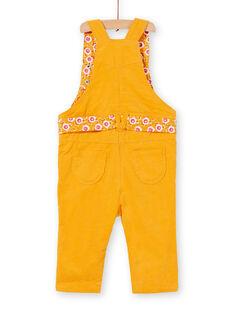 Salopette longue en velours jaune bébé fille KIRESAL / 20WG09G1SAL107
