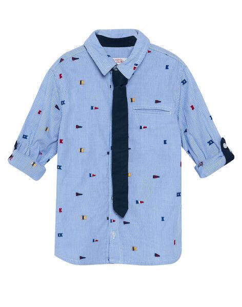 Chemise rayée bleue et blanche avec broderies drapeaux garçon JOWECHEM1 / 20S90291CHM217