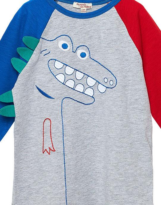 Tee shirt manches longues garçon color block raglan avec dino brodé JOGRATEE2 / 20S902E1TMLJ920