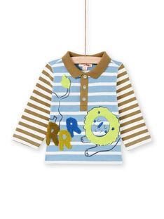Polo à rayures animation lion bébé garçon MUKAPOL / 21WG10I1POL020