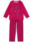 Pyjama rose en velours enfant fille GEFAPYJTER / 19WH11N1PYJD320