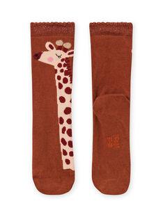 Chaussettes motif girafe enfant fille MYACOMCHO / 21WI01L1SOQ420
