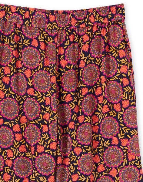 Pantalon fluide bleu marine et jaune imprimé fleuri femme LAMUMPANT / 21S993Z1PANC211