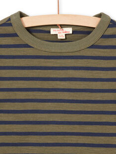 T-shirt manches longues à rayures kaki et bleu marine enfant garçon MOJOTIRIB3 / 21W90225TMLG631