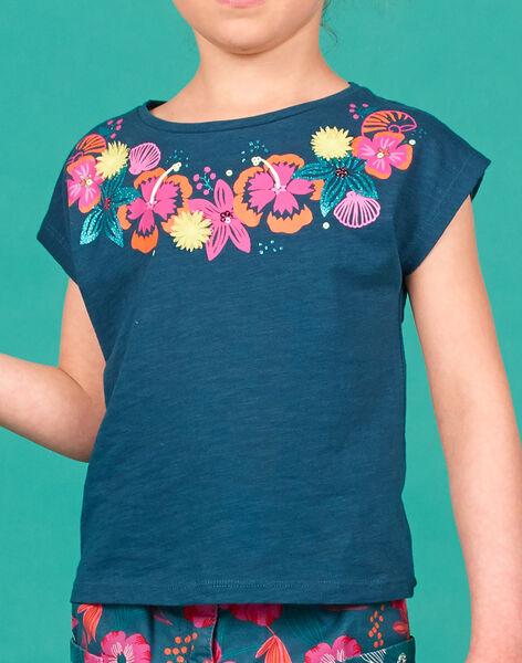 T-shirt manches courtes, animation fleurs imprimés et en relief à l'encolure LABONTI2 / 21S901W3TMC716