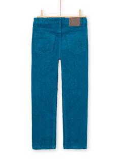 Pantalon bleu canard en velours enfant garçon MOJOPAVEL1 / 21W90213PAN714