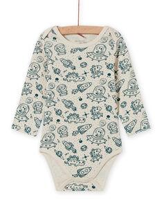 Body manches longues écru et bleu à imprimé espace bébé garçon MEGABODCHA / 21WH14C2BDL080