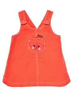 Robe salopette orange bébé fille JIVIROB2 / 20SG09D2ROBE400