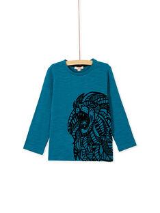 Tee shirt manches longues turquoise garçon KOJOTEE11 / 20W90244D32C217