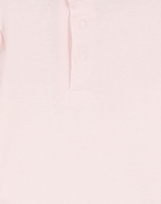 Body manches longues rose en rib layette fille GEFIBODPIN / 19WH13N2BDL307