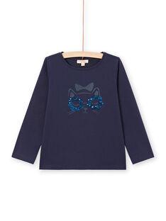 T-shirt manches longues bleu nuit motif chat enfant fille MAJOYTEE1 / 21W90113TMLC205