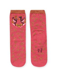 Chaussettes roses et dorées léopard enfant fille MYAKACHO / 21WI01I1SOQD305