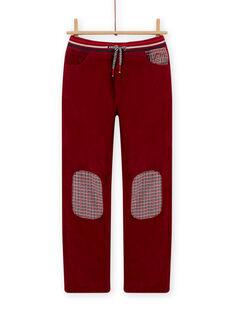 Pantalon en velours doublé rouge bordeaux enfant garçon MOFUNPAN / 21W902M2PAN511