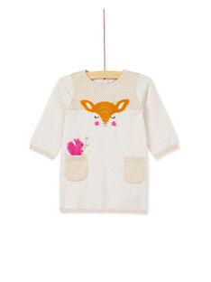 Robe manche longue tricot beige bébé fille KIREROB2 / 20WG09G2ROBA011