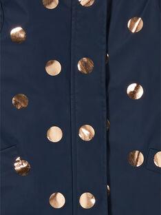 Imperméable bleu marine à pois dorés 3-en-1 enfant fille LAGOMIMPER / 21S901R1IMP070