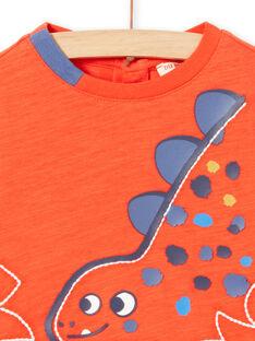 T-shirt rouge manches longues motif dinosaure bébé garçon MUPATEE2 / 21WG10H3TMLF524