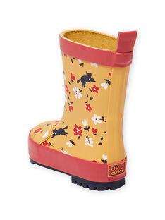 Bottes de pluie jaune imprimé fleuri bébé fille MIPLUICHAT / 21XK3711D0C400