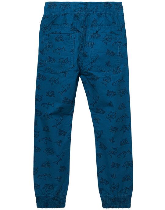 Pantalon resserré à la cheville garçon turquoise foncé imprimé JOBOPAN / 20S902H1PANC219