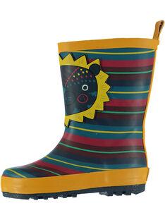 Botte de pluie en caoutchouc rayée multicolores rehaussée d'un patch lion sur le devant. Tire botte à l'arrière pour faciliter l'enfilage.  GBGBPRAY / 19WK38G2D0C010