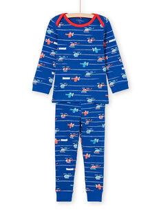 Ensemble pyjama T-shirt et pantalon bleu et rouge imprimé à rayures et hélicoptères enfant garçon MEGOPYJAVIO / 21WH1285PYJC214