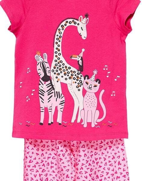 Pyjama en jersey rose enfant fille avec bas viscose JEFAPYJSAV / 20SH1123PYJF507