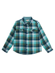 Chemise garçon à carreaux tons turquoises JOCLOCHEM / 20S90211CHM715