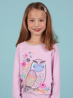 T-shirt lavande motif hibou fantaisie enfant fille MAPLATEE1 / 21W901O3TML326