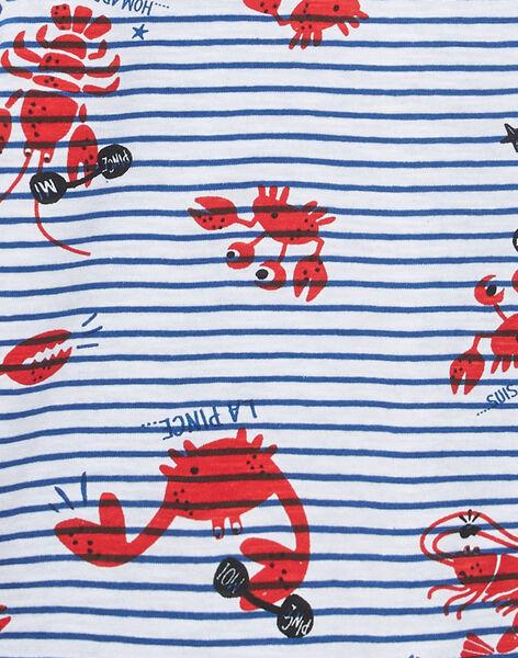 Tee shirt garçon manches courtes rayé blanc et imrpimé homard et crabe JOCEATI5 / 20S902N5TMC000