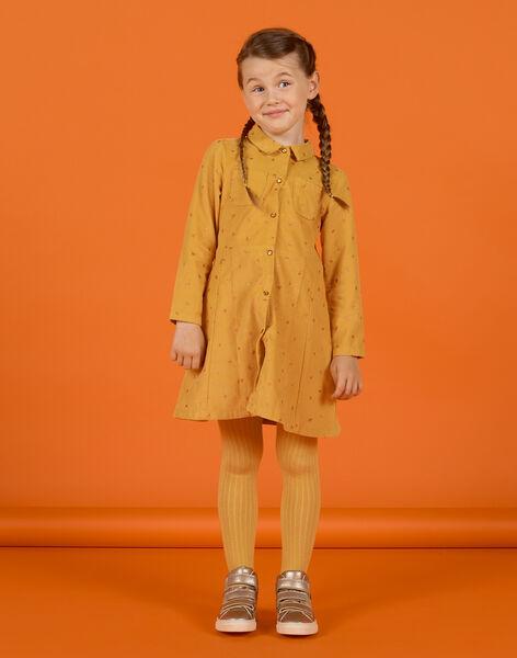Robe jaune en velours à motif fantaisie enfant fille MASAUROB3 / 21W901P1ROBB107