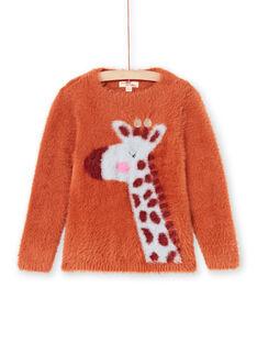Pull manches longues caramel motif giraffe enfant fille MACOMPULL / 21W901L1PUL420