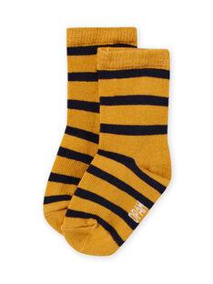 Chaussettes jaunes à rayures bébé garçon MYUJOCHOR2 / 21WI101CSOQ117