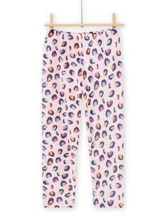 Ensemble pyjama en velours rose imprimé panthère enfant fille MEFAPYJBOX / 21WH1197PYJ309