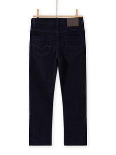 Pantalon uni bleu nuit en velours côtelé enfant garçon MOJOPAVEL4 / 21W90211PAN705