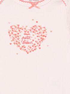 Body rose motifs cœurs roses et dorés irisés LEFIBODTRE / 21SH1324BDLD322