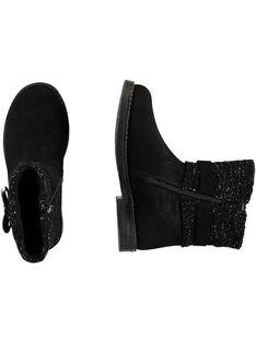 Boots col tricôt croûte de cuir nor enfant fille GFBOOTRICO / 19WK35X1D0D090