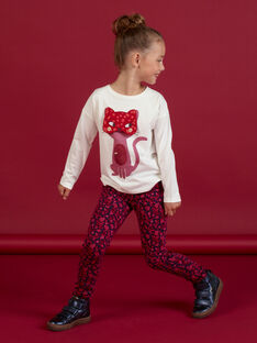T-shirt manches longues écru à animation chat masqué enfant fille MAFUNTEE2 / 21W901M2TML001