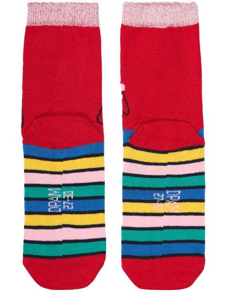 Chaussette fille rose rayée multicolor JYAGRACHO / 20SI01E1SOQ050