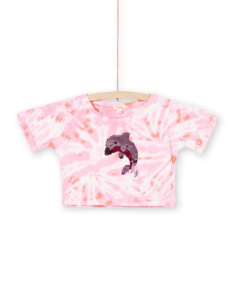 T-shirt court rose et écru à sequins réversibles LABONTI4 / 21S901W1TMC000