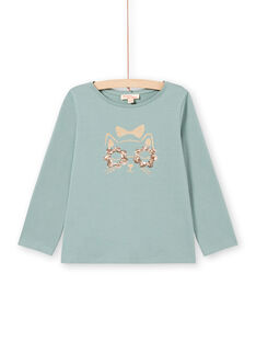 T-shirt turquoise manches longues à motif chat pailleté enfant fille MAJOYTEE4 / 21W9012CTML612