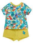 Ensemble T-shirt manches courtes et short imprimé tropical bébé garçon JUMARENS / 20SG10P1ENS000