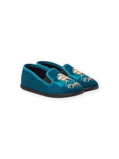 Pantoufles bleu pétrole motif paysage enfant garçon MOPANTOUT / 21XK3621D0B715
