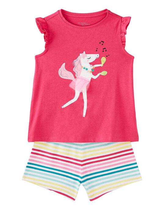 Pyjama court enfant fille rose  JEFAPYJ4 / 20SH11U3PYJD323